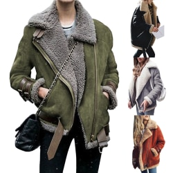Women's lamb wool bomber jacket coat winter warm coat Green,S