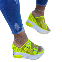 Women's Leather Buckle Strap Platform Wedge Sandals Wedge Heels Fluorescent Green,42