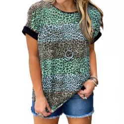 Women's Leopard Print T-shirt Short Sleeve Crew Neck Pullover Green,M