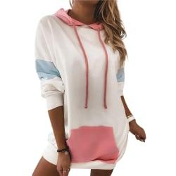 Women's Loose Hooded Sweater Pocket Dress Long Sleeve Loose Top White,L