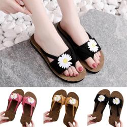 Women's Open Flower Slippers Home Indoor Sandals black,38