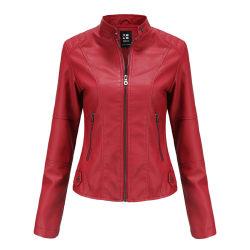 Women's PU leather jacket zipper Motorcycle Jacket red,XXL