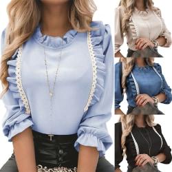 Women's Ruffle Pullover Top Casual long bubble sleeve shirt black,L