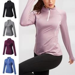 Women's running zipper long sleeve jersey sports training suit Pink,XL