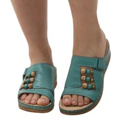 Women's Sandals Wedge High Heels Slippers Beaded Decoration Wathet,38