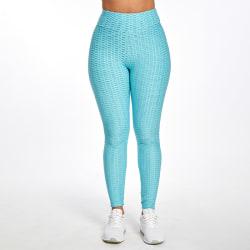 Women's seamless yoga pants high waist fitness workout leggings Lake Blue,L