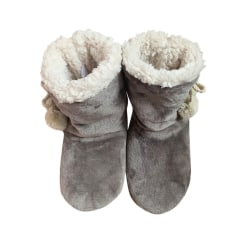 Women's Soft Soled Slippers Plush Warmer Indoor Home Ankle Boots Gray,35-38