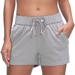 Women's solid color drawstring elastic waist yoga hot pants gray,XL