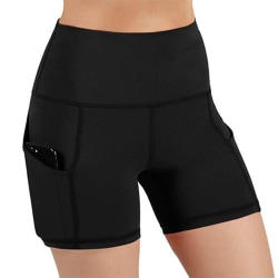 Women's solid sports shorts yoga casual fitness tights black,XXL