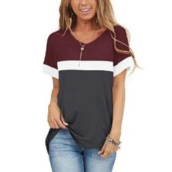Women's stitching short-sleeved top T-shirt casual sweatshirt Red wine,M
