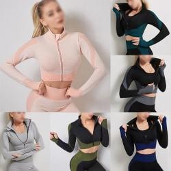 Women's Yoga Long Sleeve T-Shirt Running Fitness Sportswear Set Black Green,L