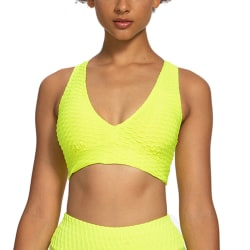 Women's Yoga Sports Bra Crop Top Sleeveless Solid Color V-Neck Yellow,XL