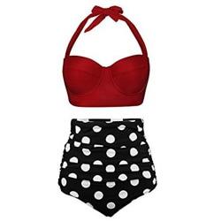 Women Sexy High Waist Swimsuit Bikini Set Two-Piece Bathing Suit Red Black,XL
