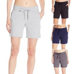 Women Summer Casual Shorts Elastic Waist Yoga Beach Short Pants Light Grey,L
