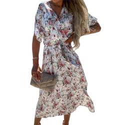 Women Summer Floral Dress Casual Short Sleeve Lace Sundress White,XXL