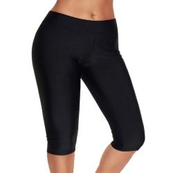 Women Swimming pants High Waisted Tankini Bottom Swimwear Shorts Black,M