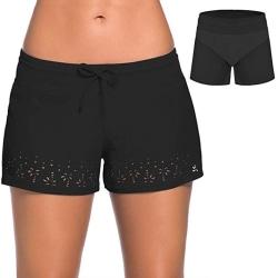Women Tankini Swim Briefs Bikini Bottoms Beach Shorts Swimwear Black,XL