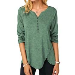 Women V-neck Long Sleeve T-shirt Top Button Irregular Hem Green,XL