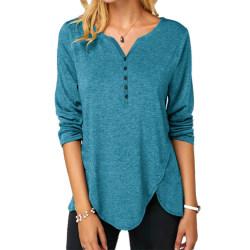 Women V-neck Long Sleeve T-shirt Top Button Irregular Hem sky blue,L