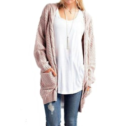Womens solid color long-sleeved twist knit cardigan sweater coat Pink,XL