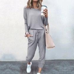 Womens Tracksuit Set Solid Joggers Trousers Loungewear Homewear Light Gray,S