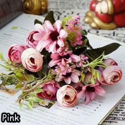 1 gäng konstgjord blomma silke te rose falsk daisy PINK