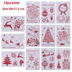 12st Layering Stencils Scrapbooking Målning Mall Merry