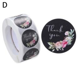 500st Tack Klistermärken Blommaetiketter Självhäftande D