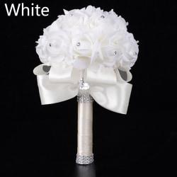 Brud- Holding Flower Artificial Rose Silk Bouquet WHITE