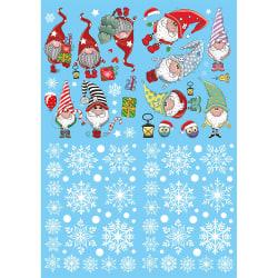 Julfönsterdekaler Statiska klistermärken Santa Claus Gnome SET 1