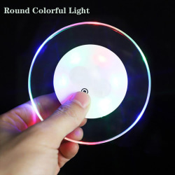 LED Coaster Cup Pad Mat ROUND MULTICOLOR LIGHT