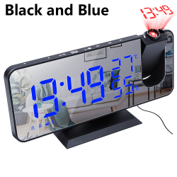 LED Digital Radio Alarm Clock SVART OCH BLÅ