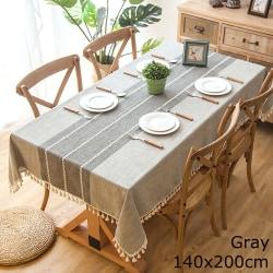 Linne bordsduk bordsskiva tofsade kanter GRÅ 140X200CM