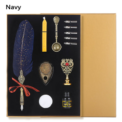 Wax Seal Stamp Kit Feather Quill Pen och Ink Set NAVY