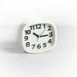 Bärbar nattbordsklocka Mini väckarklocka White,1 PCS