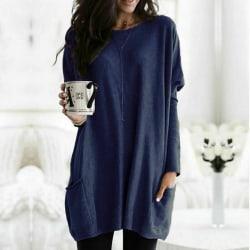 Kvinnors avslappnade blus Top Loose Pullover Tunic T-shirt