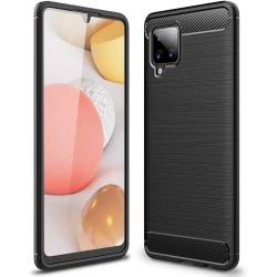Samsung Galaxy A42 5G Exklusivt Stöttåligt Skal - Kolfiber Svart