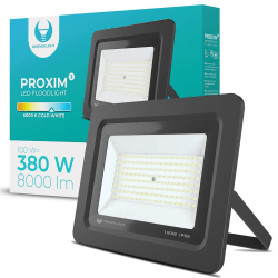 LED strålkastare 100W Utomhus KalllVit 6000K IP66 Svart
