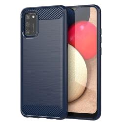 Samsung Galaxy A12 Skal - Carbon Fiber Skal Blå Blå