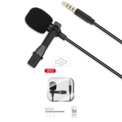 XO™ Trådad Mic 3.5mm Lavalier-mikrofon 2m Universell Svart