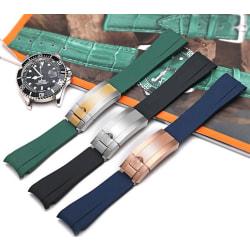 Klockarmband för omega seamaster & rolex, Svart (R).