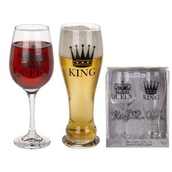 Öl och vinglas - King & Queen