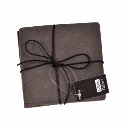 Glasunderlägg grå läderlook 4-pack multifärg