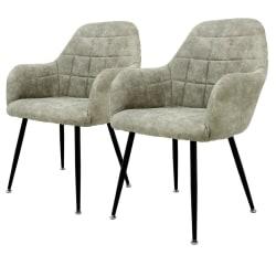 ECD Germany Set med 2 Stolar matstol med rygg och armstöd, oliv, grå