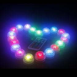 10 st/förp Mini RGB LED lampor med 1 fjärrkontroll vattentät
