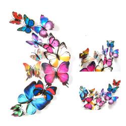 Fjäril 3D med magneter 12 st / förp Blå och rosfärger