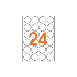 Självhäftande papper A4 25 ark/förp 24 (42mm) rund klistermärken