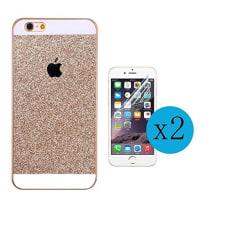 Iphone glitterskal 6/6S olika färger + 2st Härdat glas  guld