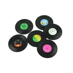 Glasunderlägg vinylskiva 6-pack