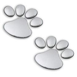 Bildekor stickers tassar hund 3D silver Silvergrå